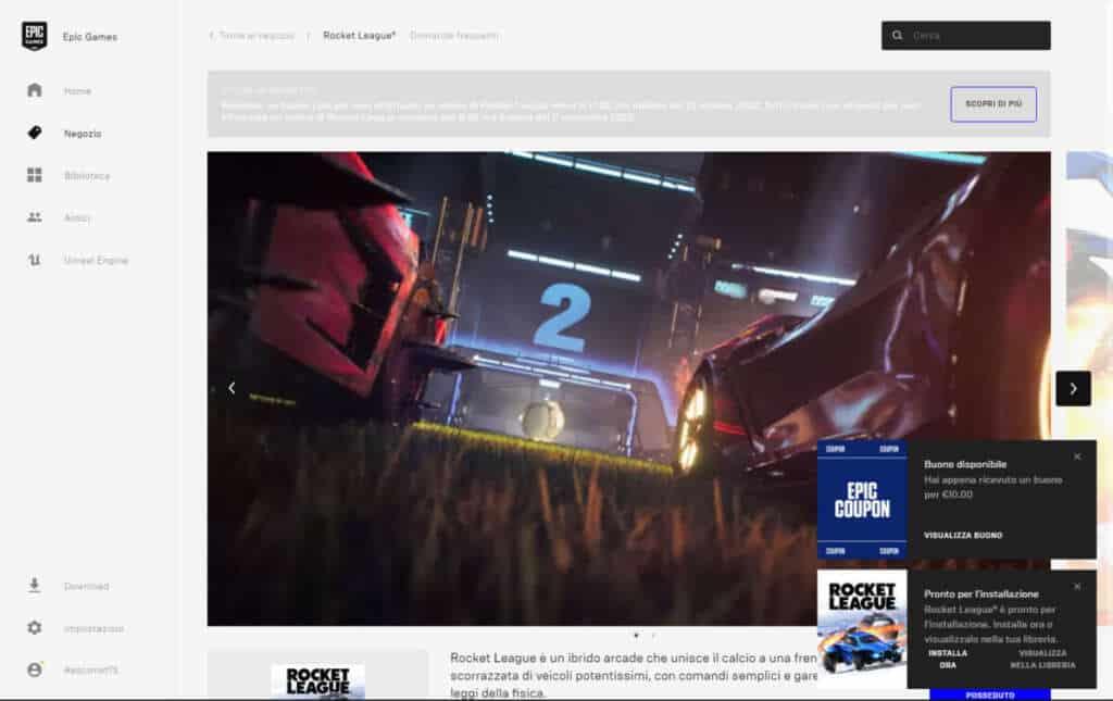 Rocket League Gratis Epic Games Coupon 10 euro
