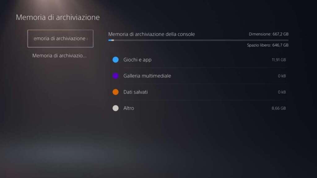 PS5 spazio libero SSD prima accensione