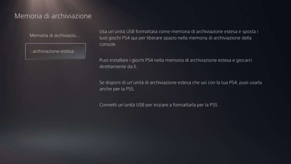 PS5 UX memoria archiviazione