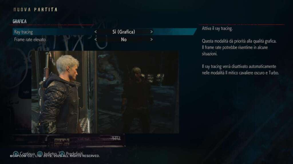 Devil May Cry 5 Special Edition PS5 ray tracing modalità grafica