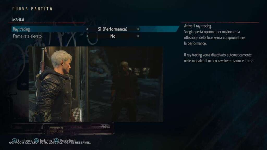 Devil May Cry 5 Special Edition PS5 ray tracing modalità performance