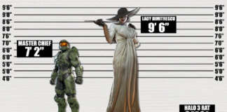 Resident Evil Village Lady Dimitrescu vs Master Chief Halo Infinite altezza