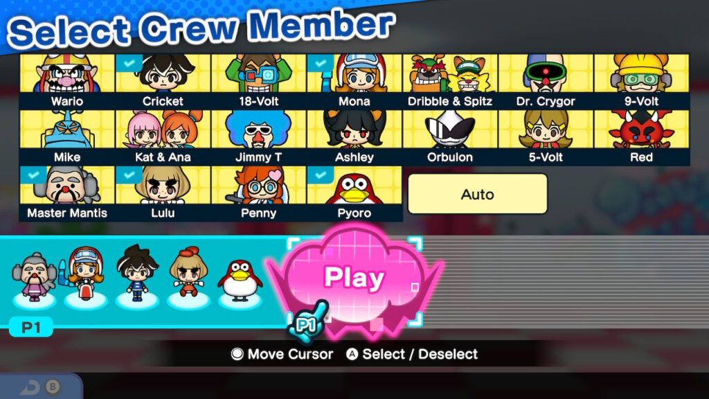 WarioWare Get It Together! Character Selection